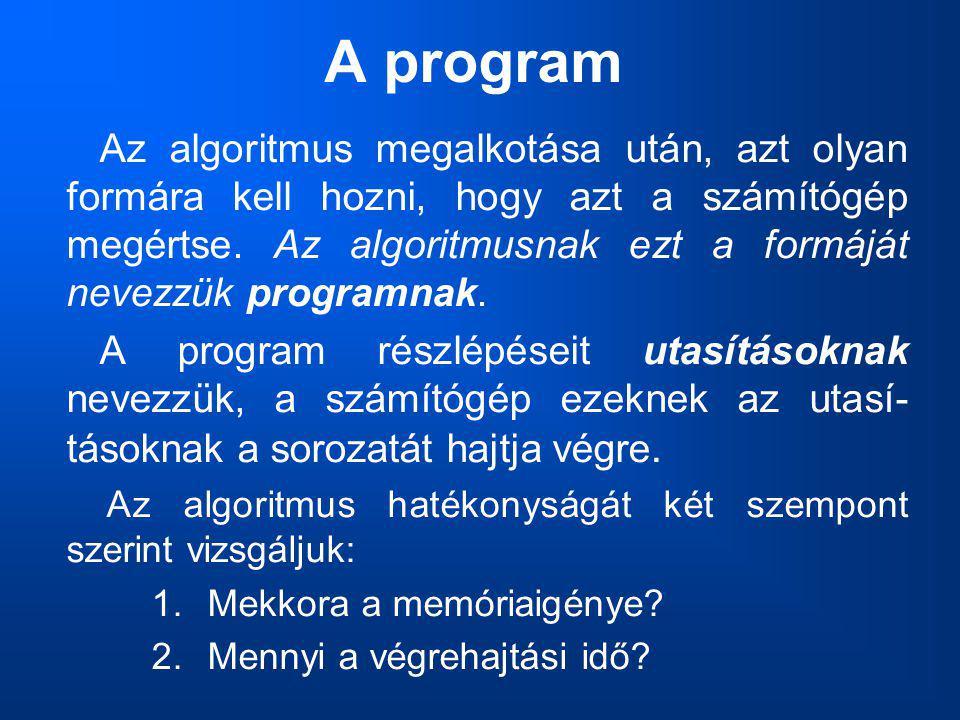 A program Az algoritmus megalkotása után, azt olyan formára kell hozni, hogy azt a számítógép megértse. Az algoritmusnak ezt a formáját nevezzük progr