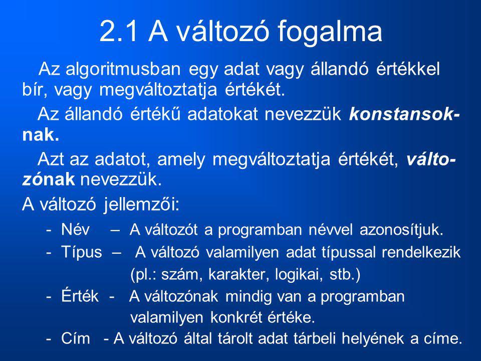2.1 A változó fogalma Az algoritmusban egy adat vagy állandó értékkel bír, vagy megváltoztatja értékét. Az állandó értékű adatokat nevezzük konstansok
