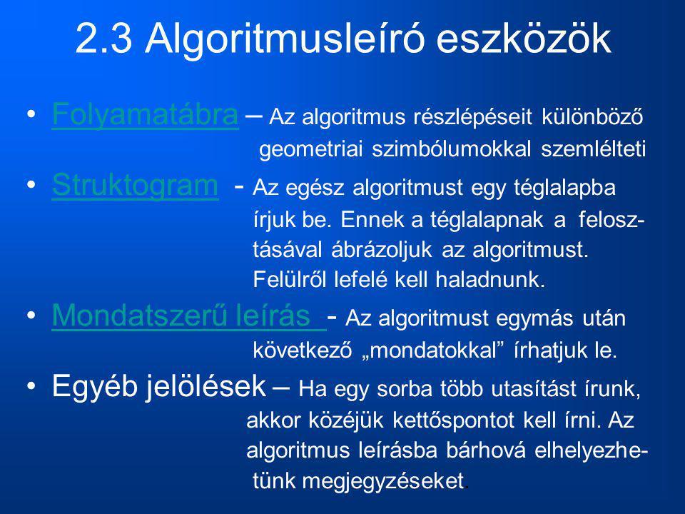 2.3 Algoritmusleíró eszközök Folyamatábra – Az algoritmus részlépéseit különbözőFolyamatábra geometriai szimbólumokkal szemlélteti Struktogram - Az eg