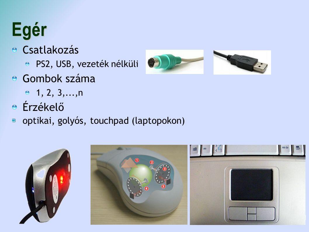 Egér Csatlakozás PS2, USB, vezeték nélküli Gombok száma 1, 2, 3,...,n Érzékelő optikai, golyós, touchpad (laptopokon) 11