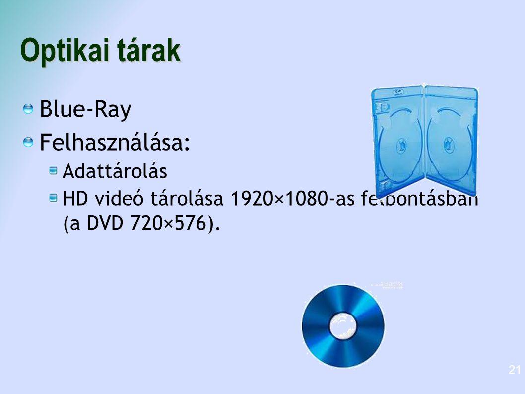 Optikai tárak Blue-Ray Felhasználása: Adattárolás HD videó tárolása 1920×1080-as felbontásban (a DVD 720×576). 21