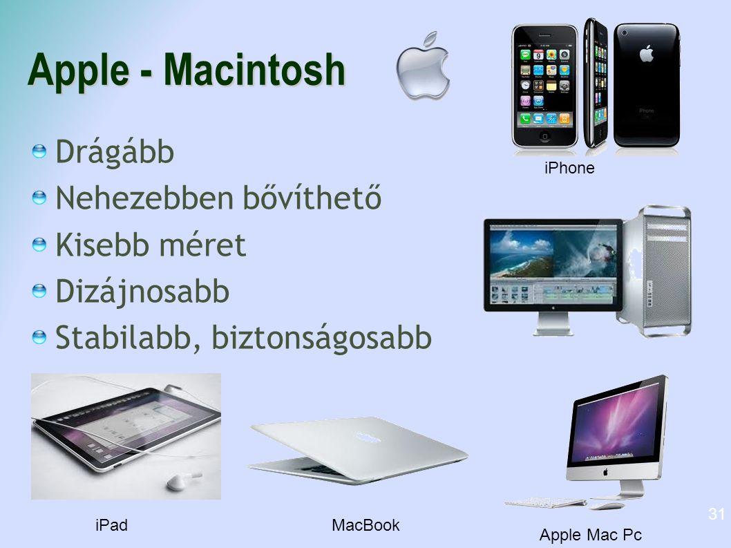 Apple - Macintosh Drágább Nehezebben bővíthető Kisebb méret Dizájnosabb Stabilabb, biztonságosabb 31 iPad Apple Mac Pc MacBook iPhone