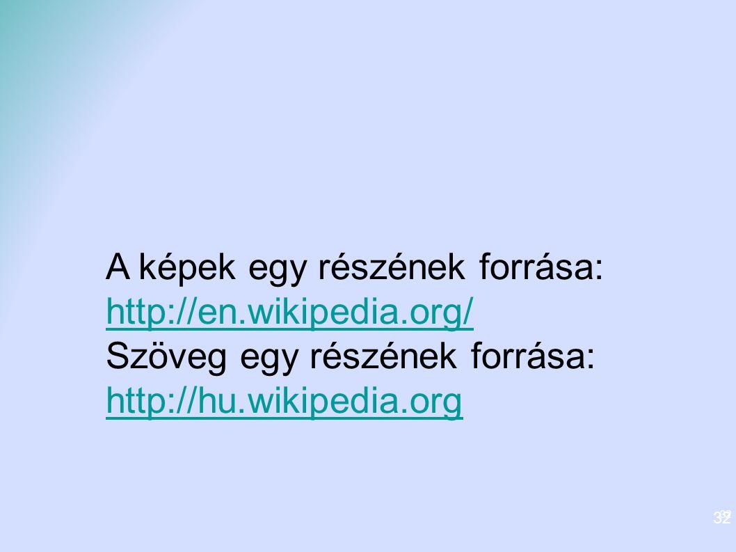 32 A képek egy részének forrása: http://en.wikipedia.org/ Szöveg egy részének forrása: http://hu.wikipedia.org 32