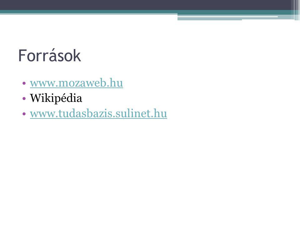 Források www.mozaweb.hu Wikipédia www.tudasbazis.sulinet.hu