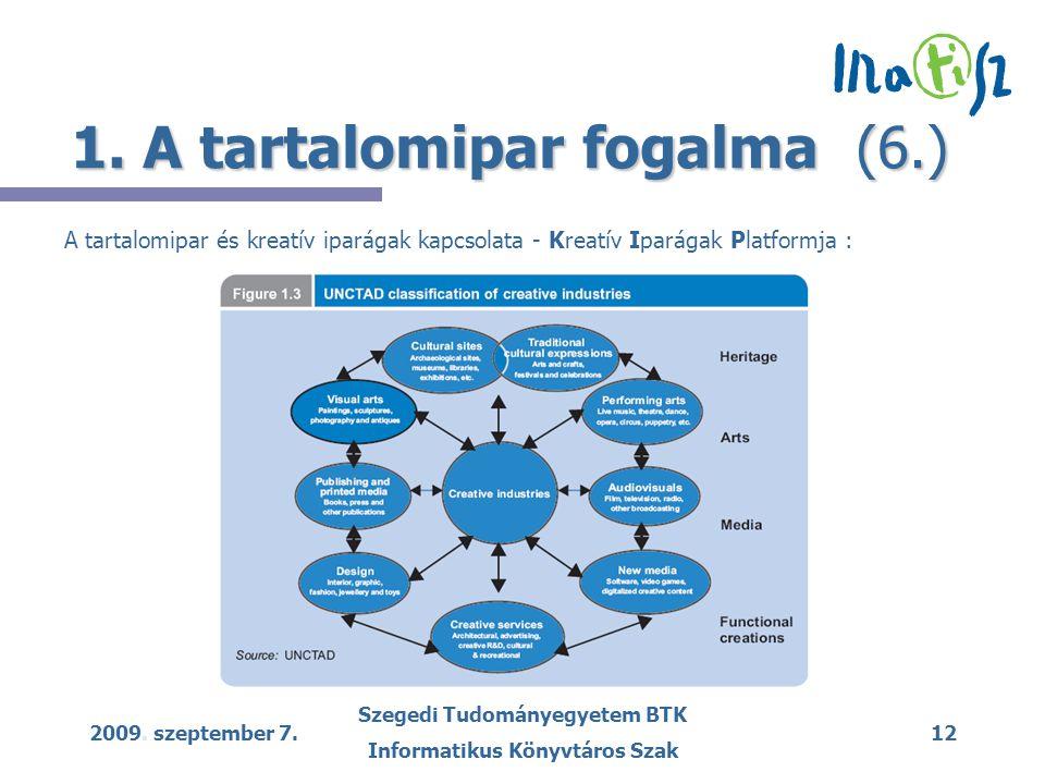 2009. szeptember 7. Szegedi Tudományegyetem BTK Informatikus Könyvtáros Szak 12 1.