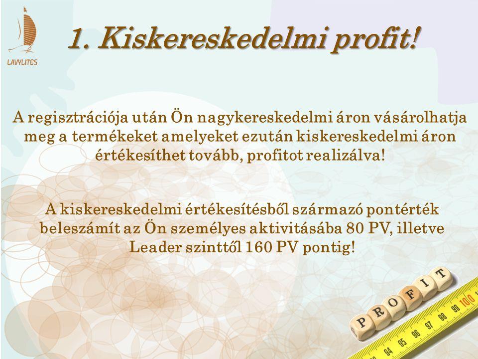 1. Kiskereskedelmi profit! A kiskereskedelmi értékesítésből származó pontérték beleszámít az Ön személyes aktivitásába 80 PV, illetve Leader szinttől