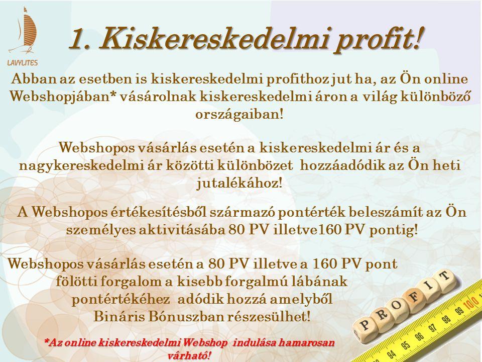 1. Kiskereskedelmi profit! Abban az esetben is kiskereskedelmi profithoz jut ha, az Ön online Webshopjában* vásárolnak kiskereskedelmi áron a világ kü