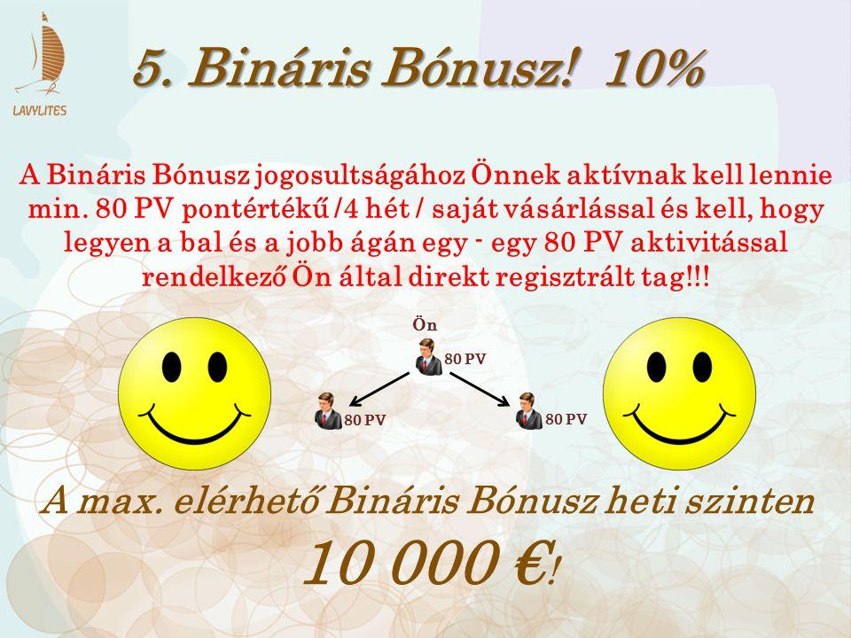 5. Bináris Bónusz! 10% A Bináris Bónusz jogosultságához Önnek aktívnak kell lennie min. 80 PV pontértékű /4 hét / saját vásárlással és kell, hogy legy