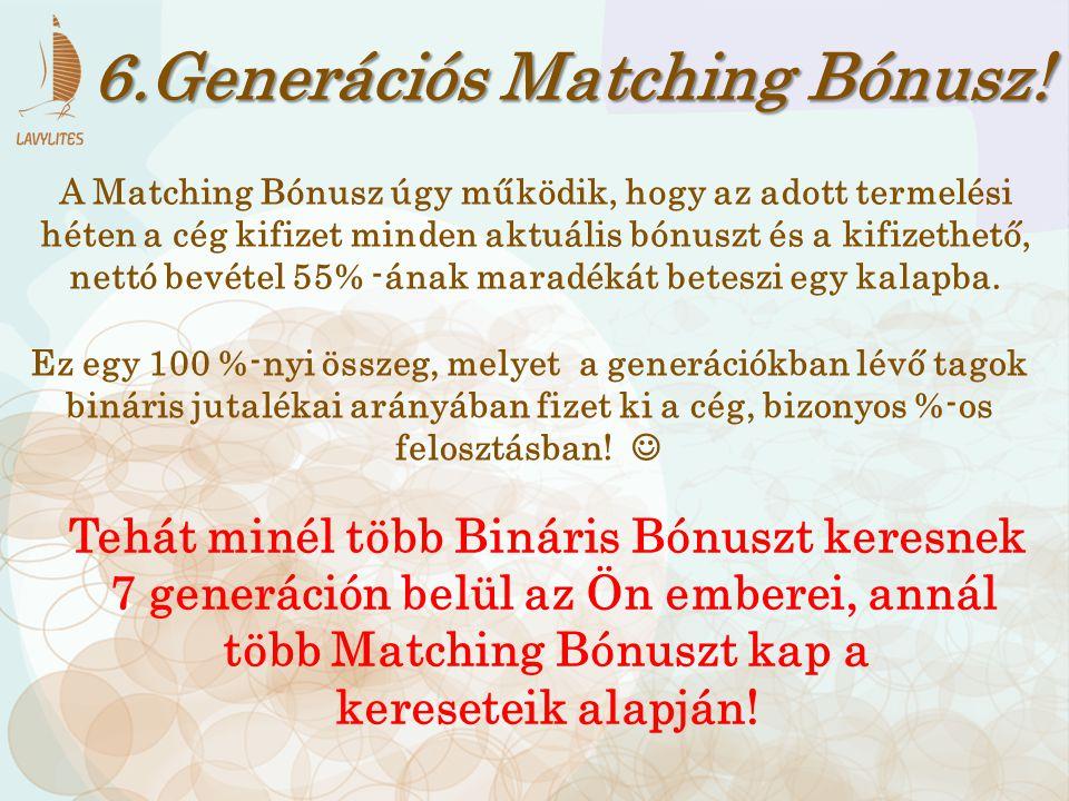 6.Generációs Matching Bónusz! A Matching Bónusz úgy működik, hogy az adott termelési héten a cég kifizet minden aktuális bónuszt és a kifizethető, net
