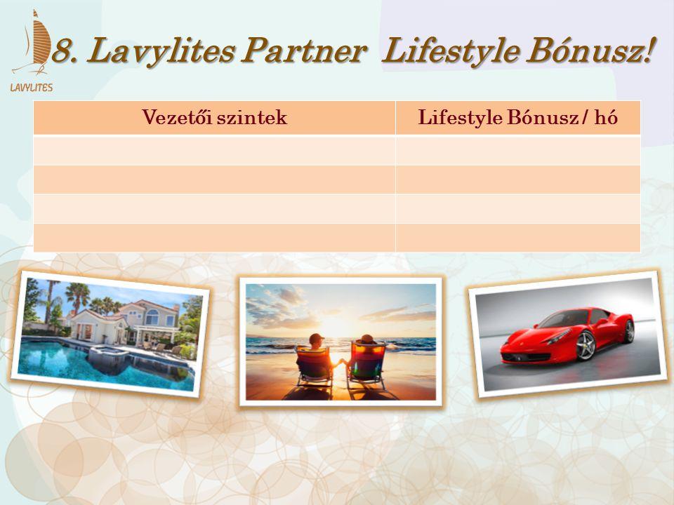 Vezetői szintekLifestyle Bónusz / hó 8. Lavylites Partner Lifestyle Bónusz!