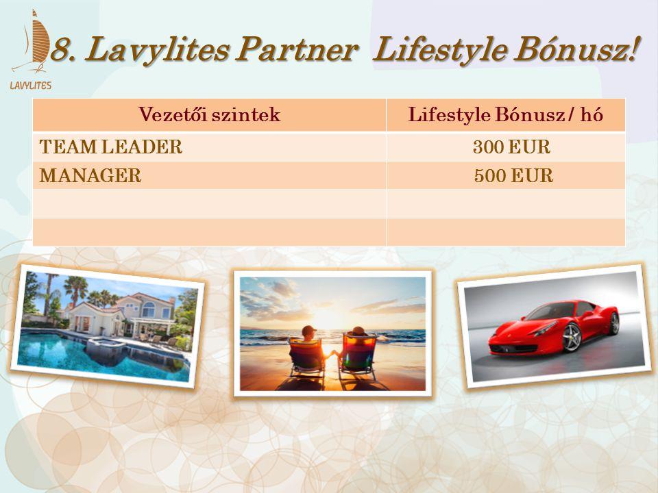 Vezetői szintekLifestyle Bónusz / hó TEAM LEADER 300 EUR MANAGER 500 EUR 8. Lavylites Partner Lifestyle Bónusz!