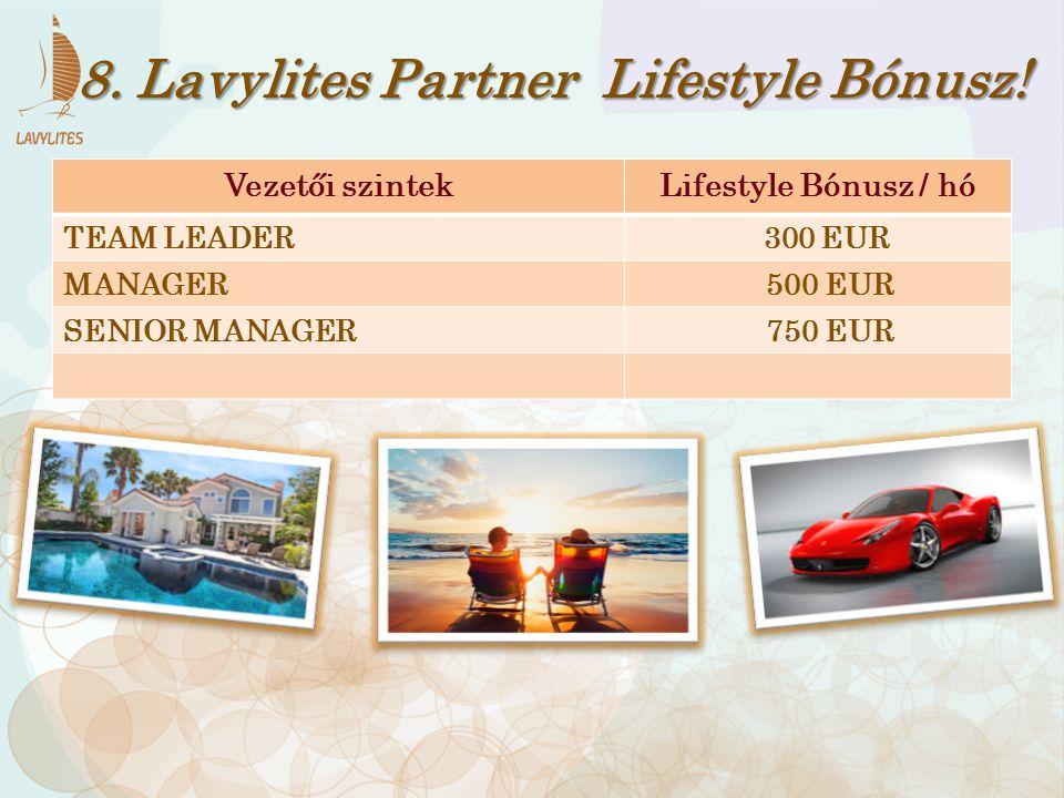 Vezetői szintekLifestyle Bónusz / hó TEAM LEADER 300 EUR MANAGER 500 EUR SENIOR MANAGER 750 EUR 8. Lavylites Partner Lifestyle Bónusz!