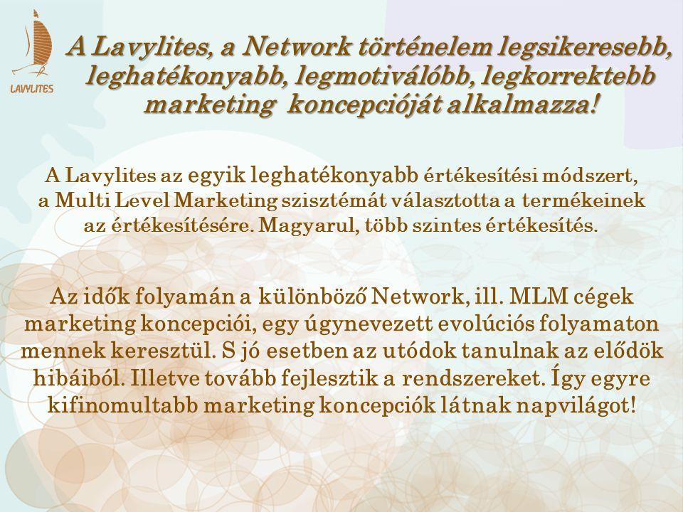A Lavylites, a Network történelem legsikeresebb, leghatékonyabb, legmotiválóbb, legkorrektebb marketing koncepcióját alkalmazza! Az idők folyamán a kü