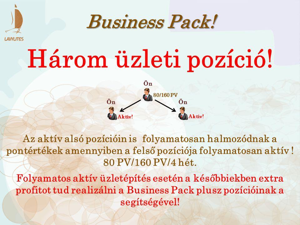 Business Pack! Három üzleti pozíció! Az aktív alsó pozícióin is folyamatosan halmozódnak a pontértékek amennyiben a felső pozíciója folyamatosan aktív