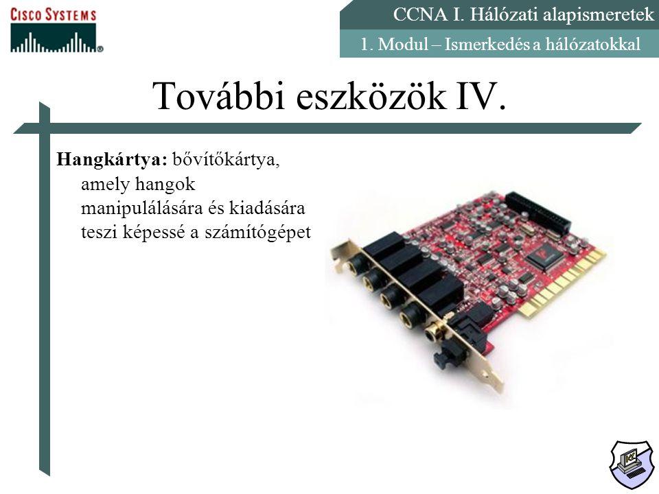 CCNA I. Hálózati alapismeretek 1. Modul – Ismerkedés a hálózatokkal További eszközök IV. Hangkártya: bővítőkártya, amely hangok manipulálására és kiad
