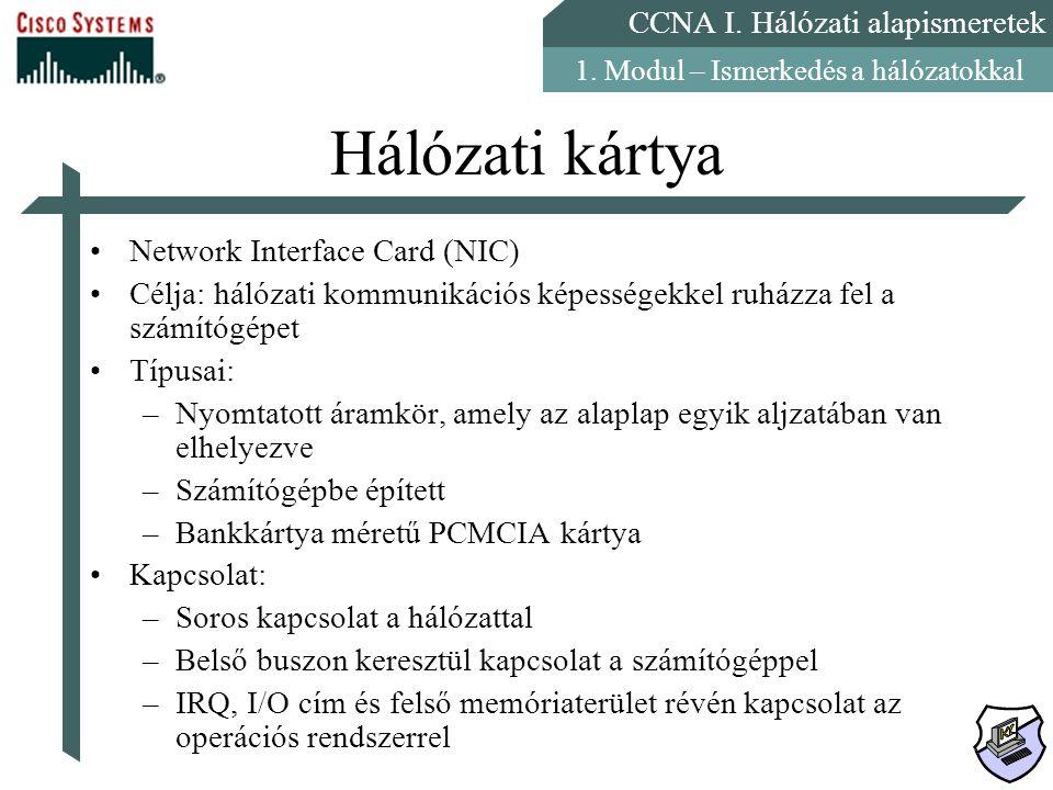 CCNA I. Hálózati alapismeretek 1. Modul – Ismerkedés a hálózatokkal Hálózati kártya Network Interface Card (NIC) Célja: hálózati kommunikációs képessé