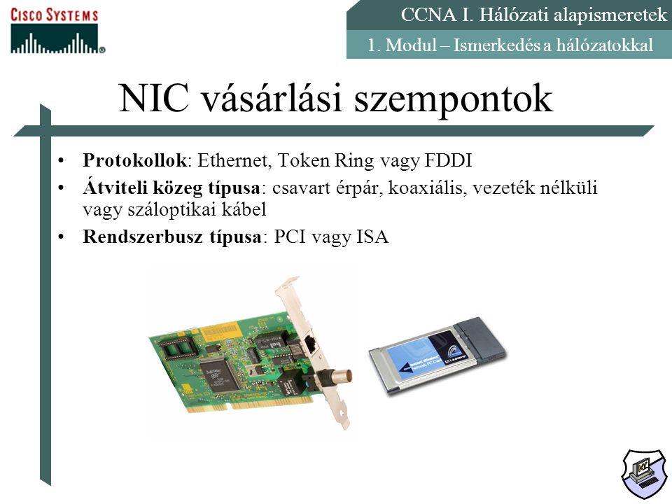 CCNA I. Hálózati alapismeretek 1. Modul – Ismerkedés a hálózatokkal NIC vásárlási szempontok Protokollok: Ethernet, Token Ring vagy FDDI Átviteli köze