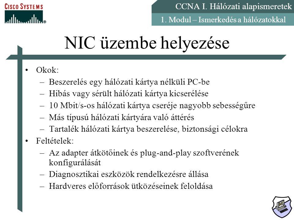 CCNA I. Hálózati alapismeretek 1. Modul – Ismerkedés a hálózatokkal NIC üzembe helyezése Okok: –Beszerelés egy hálózati kártya nélküli PC-be –Hibás va