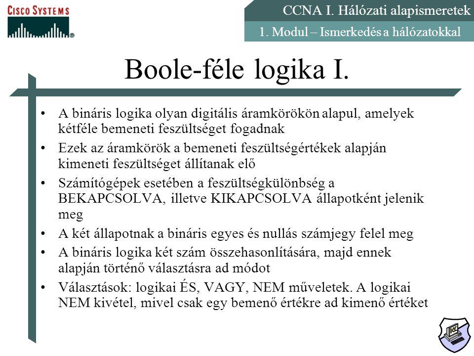 CCNA I. Hálózati alapismeretek 1. Modul – Ismerkedés a hálózatokkal Boole-féle logika I. A bináris logika olyan digitális áramkörökön alapul, amelyek