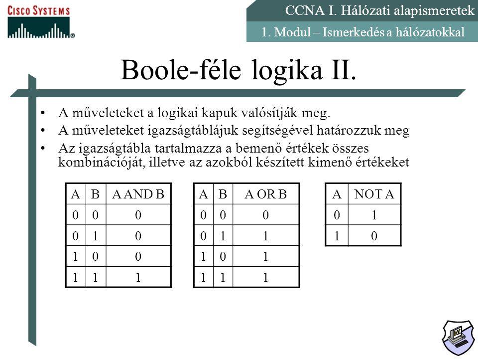 CCNA I. Hálózati alapismeretek 1. Modul – Ismerkedés a hálózatokkal Boole-féle logika II. A műveleteket a logikai kapuk valósítják meg. A műveleteket