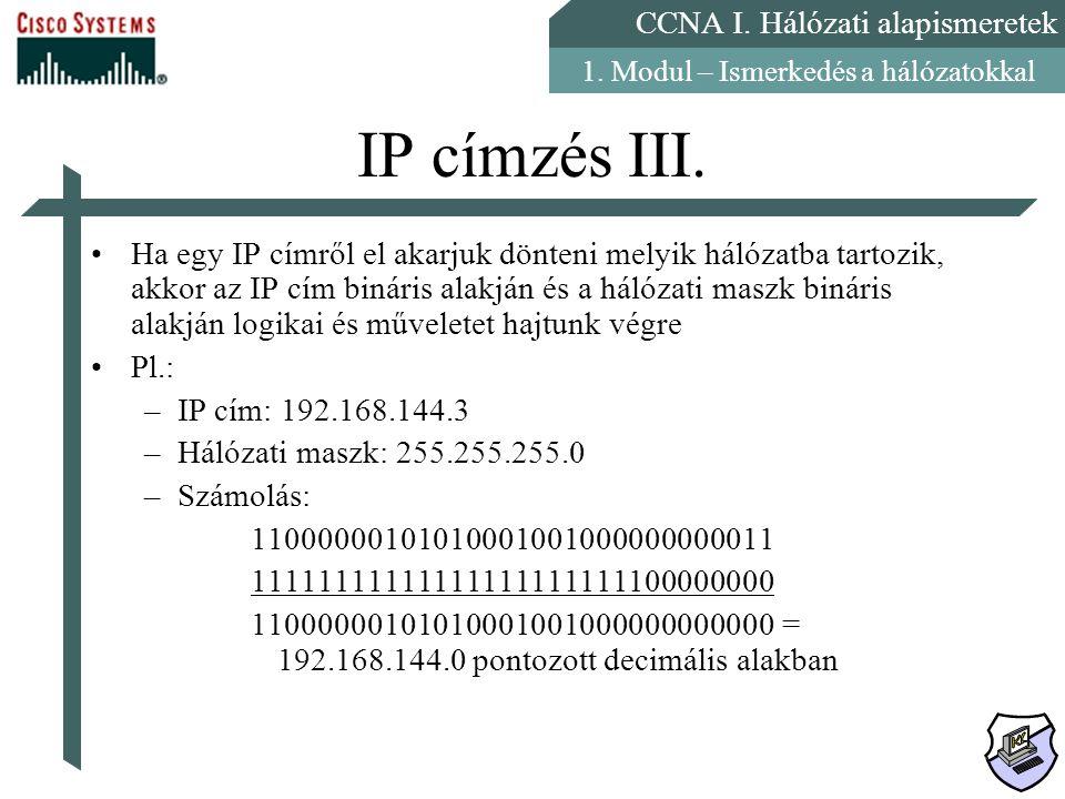 CCNA I. Hálózati alapismeretek 1. Modul – Ismerkedés a hálózatokkal IP címzés III. Ha egy IP címről el akarjuk dönteni melyik hálózatba tartozik, akko