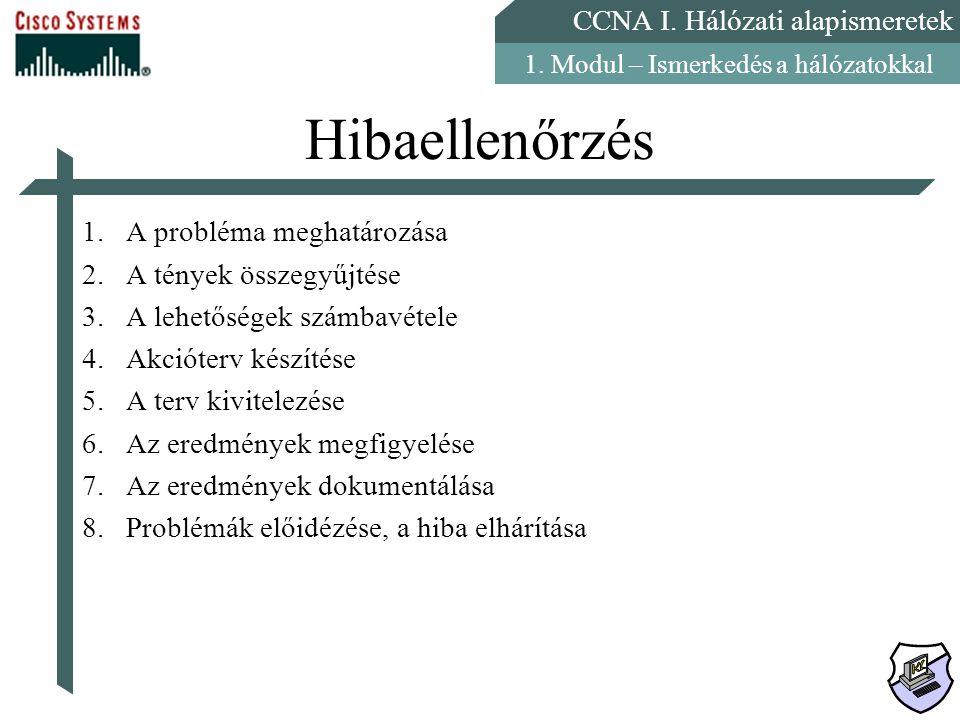 CCNA I. Hálózati alapismeretek 1. Modul – Ismerkedés a hálózatokkal Hibaellenőrzés 1.A probléma meghatározása 2.A tények összegyűjtése 3.A lehetőségek