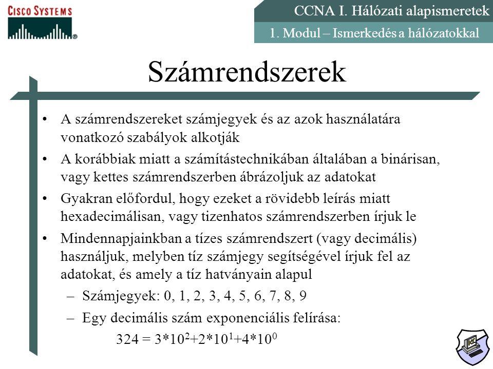 CCNA I. Hálózati alapismeretek 1. Modul – Ismerkedés a hálózatokkal Számrendszerek A számrendszereket számjegyek és az azok használatára vonatkozó sza