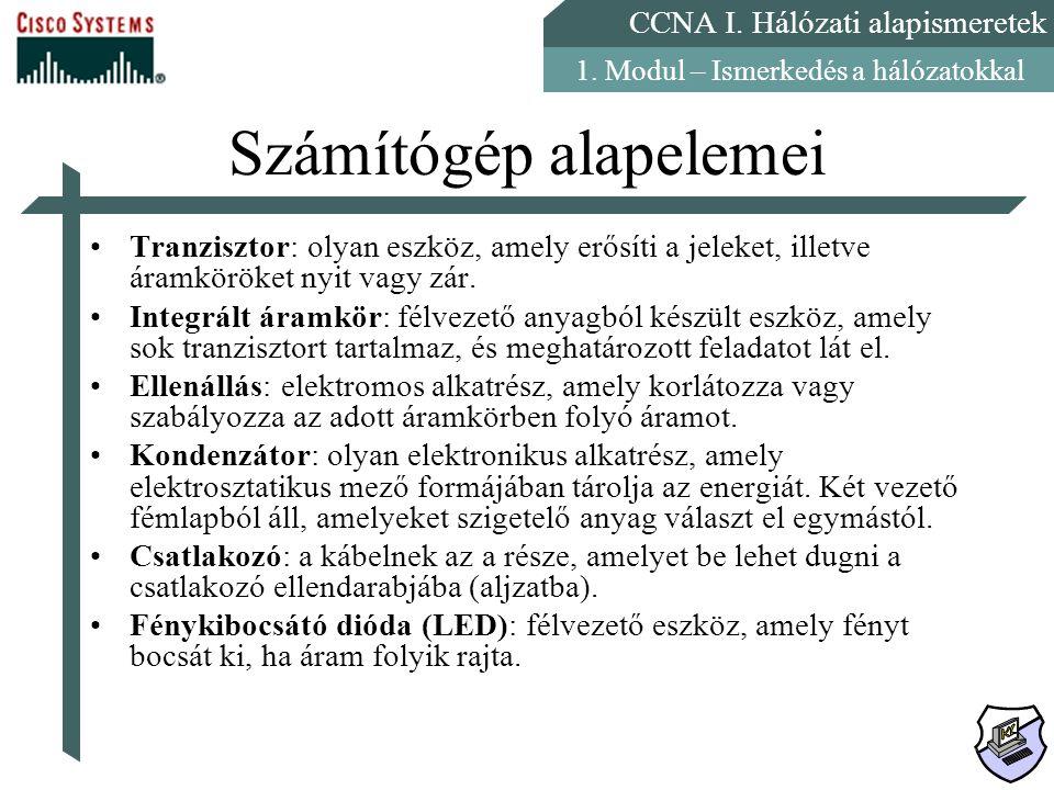 CCNA I.Hálózati alapismeretek 1. Modul – Ismerkedés a hálózatokkal Számítógép alrendszerei I.