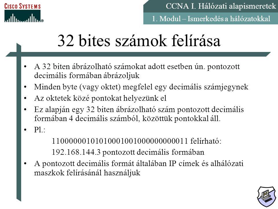 CCNA I. Hálózati alapismeretek 1. Modul – Ismerkedés a hálózatokkal 32 bites számok felírása A 32 biten ábrázolható számokat adott esetben ún. pontozo