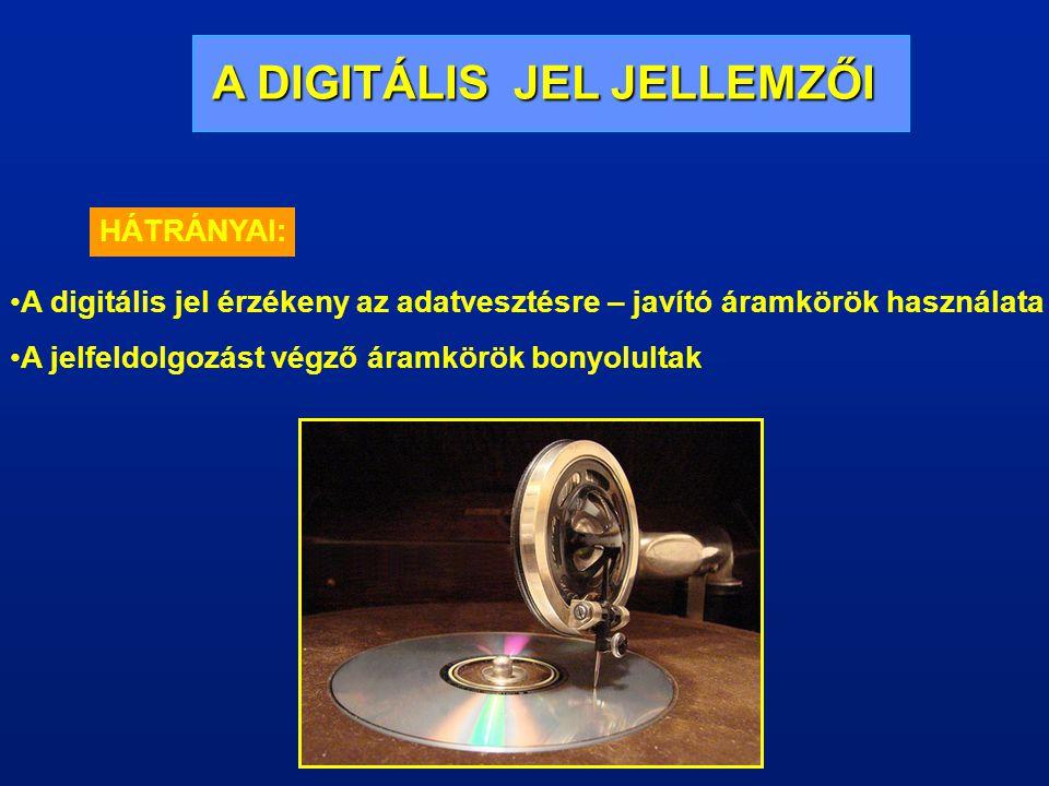 A DIGITÁLIS JEL JELLEMZŐI A digitális jel impulzusok sorozatából áll, szemben az analóg jel időben folytonos jellegével. A hőmérséklet és tápfeszültsé