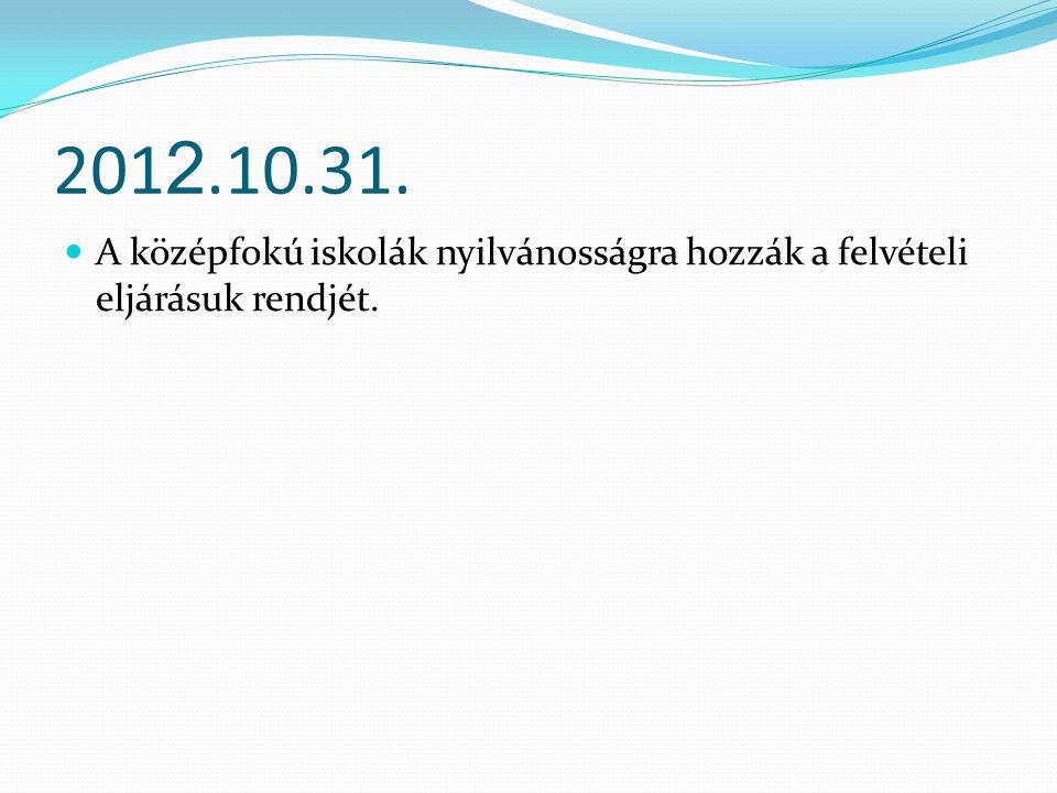 201 2.10.31. A középfokú iskolák nyilvánosságra hozzák a felvételi eljárásuk rendjét.