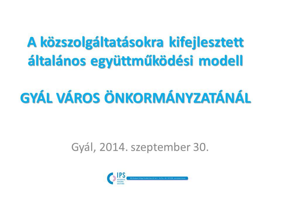 A közszolgáltatásokra kifejlesztett általános együttműködési modell GYÁL VÁROS ÖNKORMÁNYZATÁNÁL Gyál, 2014.