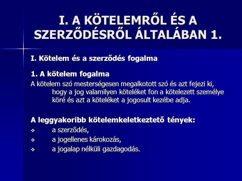 I.A KÖTELEMRŐL ÉS A SZERZŐDÉSRŐL ÁLTALÁBAN 1. I. Kötelem és a szerződés fogalma 1.
