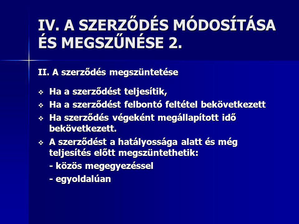 IV.A SZERZŐDÉS MÓDOSÍTÁSA ÉS MEGSZŰNÉSE 2. II.