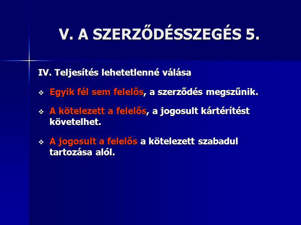 V.A SZERZŐDÉSSZEGÉS 5. IV.