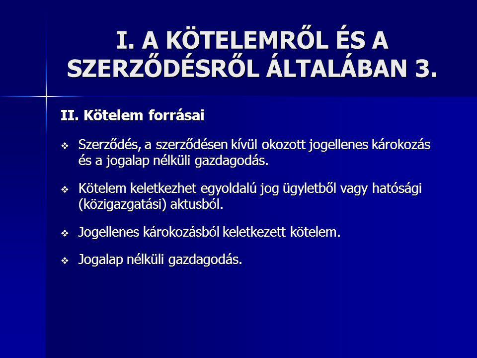 I.A KÖTELEMRŐL ÉS A SZERZŐDÉSRŐL ÁLTALÁBAN 3. II.