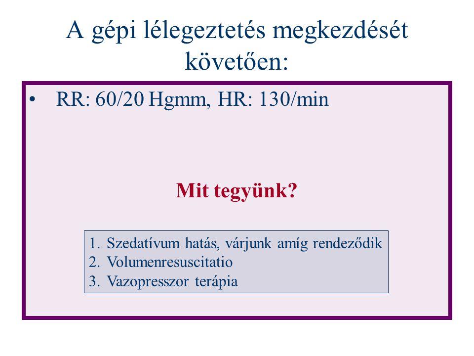 A gépi lélegeztetés megkezdését követően: RR: 60/20 Hgmm, HR: 130/min Mit tegyünk? 1.Szedatívum hatás, várjunk amíg rendeződik 2.Volumenresuscitatio 3