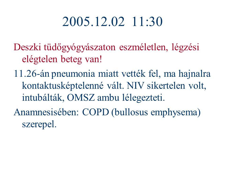 2005.12.02 11:30 Deszki tüdőgyógyászaton eszméletlen, légzési elégtelen beteg van! 11.26-án pneumonia miatt vették fel, ma hajnalra kontaktusképtelenn