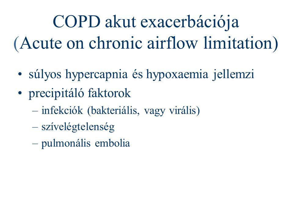 COPD akut exacerbációja (Acute on chronic airflow limitation) súlyos hypercapnia és hypoxaemia jellemzi precipitáló faktorok –infekciók (bakteriális,