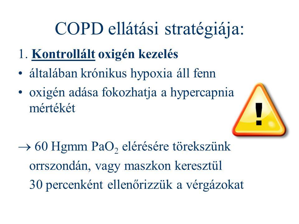 COPD ellátási stratégiája: 1. Kontrollált oxigén kezelés általában krónikus hypoxia áll fenn oxigén adása fokozhatja a hypercapnia mértékét  60 Hgmm