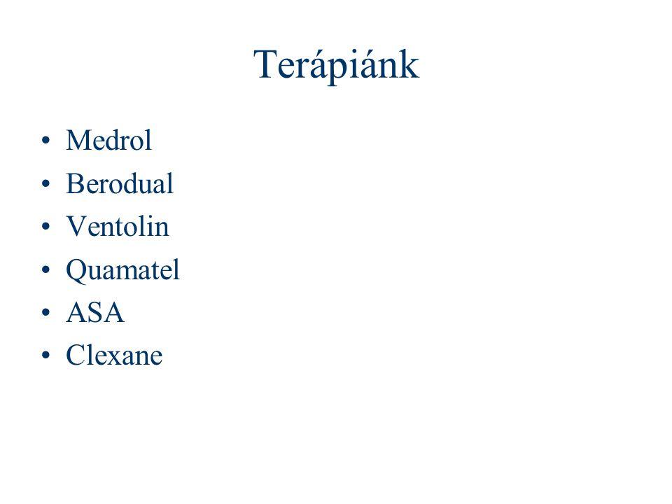 Terápiánk Medrol Berodual Ventolin Quamatel ASA Clexane
