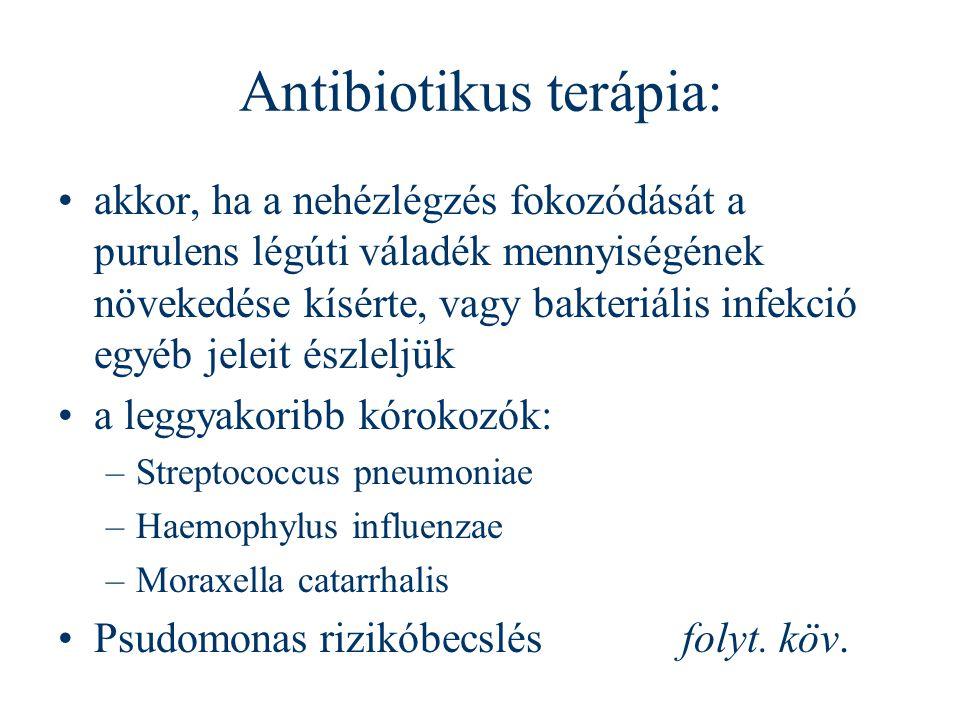 Antibiotikus terápia: akkor, ha a nehézlégzés fokozódását a purulens légúti váladék mennyiségének növekedése kísérte, vagy bakteriális infekció egyéb