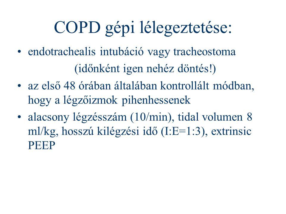 COPD gépi lélegeztetése: endotrachealis intubáció vagy tracheostoma (időnként igen nehéz döntés!) az első 48 órában általában kontrollált módban, hogy