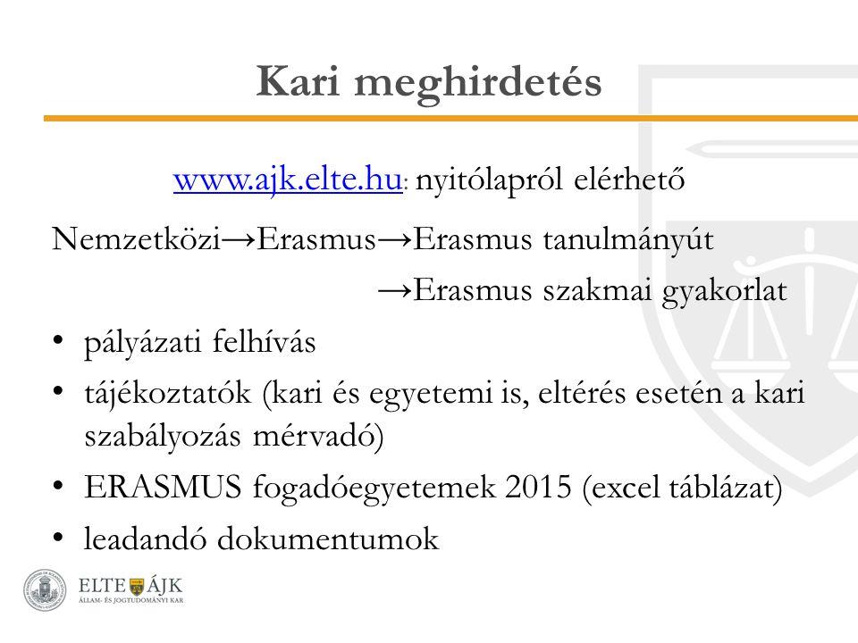 Kari meghirdetés www.ajk.elte.hu www.ajk.elte.hu : nyitólapról elérhető Nemzetközi→Erasmus→Erasmus tanulmányút →Erasmus szakmai gyakorlat pályázati fe