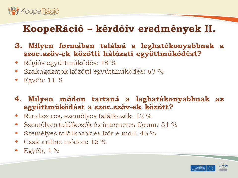 KoopeRáció – kérdőív eredmények II. 3. Milyen formában találná a leghatékonyabbnak a szoc.szöv-ek közötti hálózati együttműködést? Régiós együttműködé