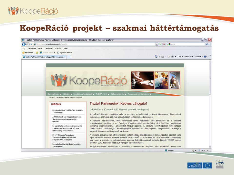 KoopeRáció projekt – szakmai háttértámogatás