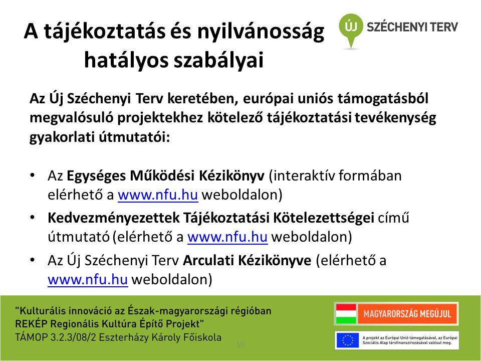 A tájékoztatás és nyilvánosság hatályos szabályai Az Új Széchenyi Terv keretében, európai uniós támogatásból megvalósuló projektekhez kötelező tájékoz