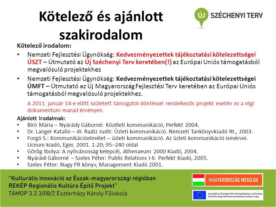 Kötelező és ajánlott szakirodalom Kötelező irodalom: Nemzeti Fejlesztési Ügynökség: Kedvezményezettek tájékoztatási kötelezettségei ÚSZT – Útmutató az