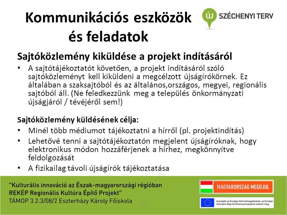 Kommunikációs eszközök és feladatok Sajtóközlemény kiküldése a projekt indításáról A sajtótájékoztatót követően, a projekt indításáról szóló sajtóközl