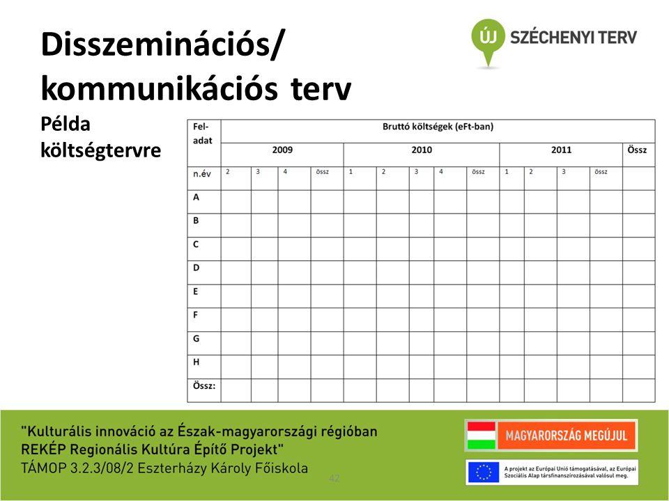Disszeminációs/ kommunikációs terv Példa költségtervre 42